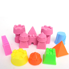 6Pcs/Set Mini Portable Castle Model Building Tools Kits Sand Castle Clay Mold Beach Toys Outdoor Game Gift For Boys Girls Kids(China)