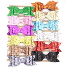 12pcs/lot 12cm Big Glitte Leather Bow With Headband Headwear Bowknot Headband Hair Accessories Leather Synthetic Hair Wear(China)