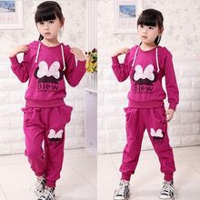 Bowknot Baby Girls Kids Hoodies Pant Sportswear Clothing Sets Outfit Suit Girls coats kids clothing girls hoodies winter outwear