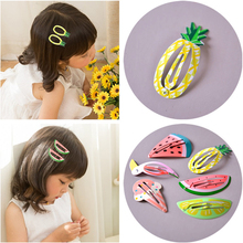 LOEEL Fashion Korea Simple Pineapple Lemon Watermelon Fruit BB Clips Children Girls Ice Cream Flamingo Hairpins Hair Accessories