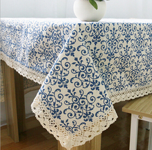 Home hotel dining/wedding Linen Blue Floral Print Table Cloth Cotton Rectangular Lace Tablecloth Table covers Long Table Runners(China)