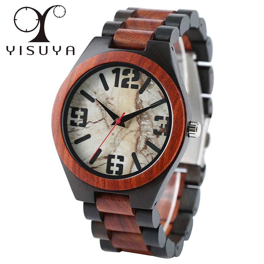 YISUYA Casual Handmade Full Wooden Mens Wrist Watch Quartz Marble Dial Fold Clasp Bangle Gift<br>