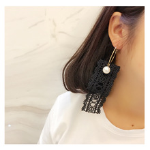 2017 Korean Style Women Fashion Lace Earrings Simulated Pearl  Brincos Drop Earrings Jewelry Danger Earrings