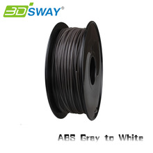 3DSWAY High Quality 3D Printer Material Filament ABS color changed by temperature 1.75mm/3.0mm 1kg for 3D printer Gray to White