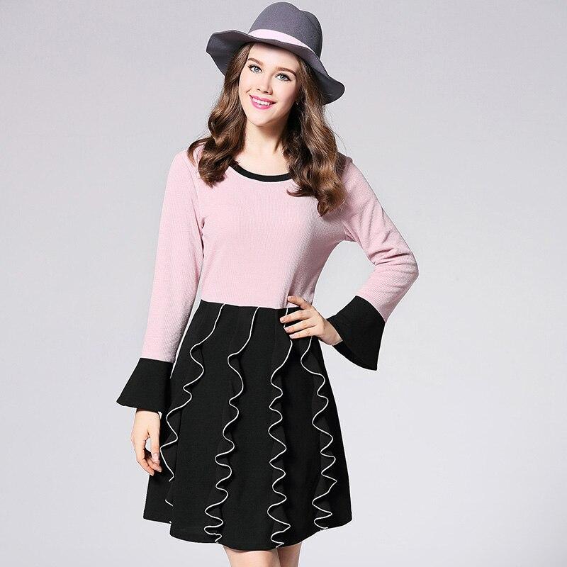 2017 autumn women A-line dresses plus size long sleeves ruffles patchwork fashion dress big size women knitted one piece dressÎäåæäà è àêñåññóàðû<br><br>