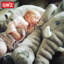 QWZ 40/60cm Large Plush Elephant Toy Kids Sleeping Back Cushion stuffed Pillow Elephant Doll Baby Doll Birthday Gift for Kids