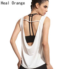 HEAL ORANGE Womens Sport Shirts Yoga Tops Sleeveless Vest Fitness Running Clothes for Female Breathable Tank Tops Running Vest(China)