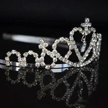 Celebrity Cute Little Girl Rhinestone Princess Crown Headband Tiara Hair Sticks Bandeau Avec Strass