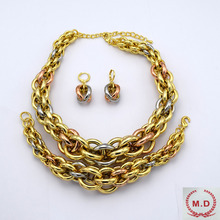 "M.D Shop Jewelry Set For Women Wholesale ""ITALY 750 ""Gold Plated Jewelry 3 Colors 2016New(China)"