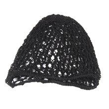 YOST-1x Women Soft Rayon Snood Hair Net Crochet Cap Black