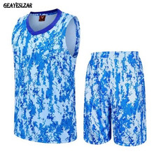Camouflage Men basketball clothes set primary school students jersey women's child basketball clothing diy printing