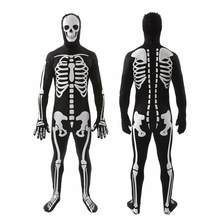 mens teens bone chillin skeleton suit fancy dress halloween party costume