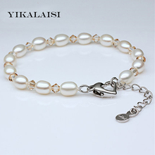 YIKALAISI 2017 Charm Bracelet Pearl Jewelry Natural Freshwater Pearl Bracelet 925 Sterling Silver Jewelry Bracelet For Women(China)