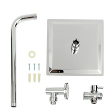 G1/2'' Square Chrome Bathroom Ultrathin 8 inch Shower Head +Stainless Steel Shower Arm+3 ways T-adapter Faucet Replacement Parts