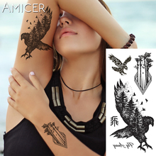 1 piece Fantasy Color Forest Eagle Birds Hot Large animal Temporary Tattoo Waterproof Tattoo Sticker for women men