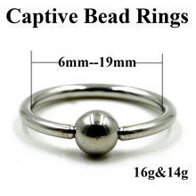 10 Pieces Extra Large Size Surgical Steel Captive Bead Ring Septum Nose Hoop Ring Ear Tragus Cartilalge Labia Piercing Ring 16g