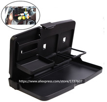 Stable Folding Design Universal Black Car Food Tray Folding Dining Table Drink Holder Car Pallet Car stowing tidying(China)