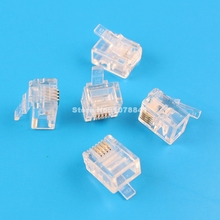 100 Pcs Per Lot RJ11 6P4C Connector Modular Phone Plug CAT3