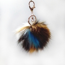 12pcs 8cm Brown White Dark Red Series Fake Raccoon Fur Pompon Key Chain Bag Pendant Colorful Long Hair Fulffy Pom Jewelry Gifts