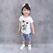 Boys Summer T-shirt  Denm Shorts Short  Mickey Tshirt and Shorts Kids Casual Clothing Suits Children's Clothes Set Jeans Shorts