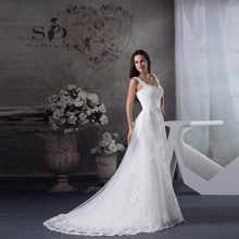 Wedding Dress 2017 SoDigne Newest Coming Lace Applique Beaded A Line Elegant Vestido De Noiva Romantic Pleats Bridal Gown(China)
