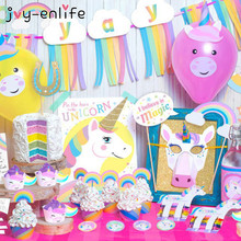 JOY-ENLIFE 1set Rainbow Unicorn Party Set YAY Banner Garland Unicorn Mask Cake Topper Photo Props Baby Shower Christmas Decor(China)
