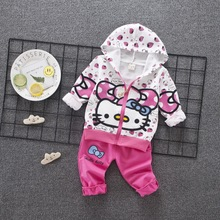 2018 New Spring Autumn Girl Suit Set Cartoon Cat Hats Zipper Jacket Long Sleeve Pant Clothes Kids 2 Pcs Clothing Athletic Wear(China)