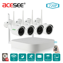 Acesee 4CH 720P OV9732+Hi3518E Security Camera Ip Video Surveillance Wifi Kit Outdoor Systems CCTV 4 Cameras Hi3520D NVR Kit 1TB(China)