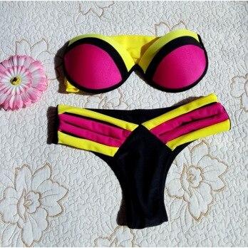 2017 Women Sexy Mix Colors Strapless Bikini Set Swimsuits Steel Patchwork Brazilian Biquini Neoprene Swimwear Banador DE24<br><br>Aliexpress