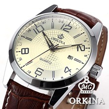 Orkina Japan Quartz Watch Men Auto Date Brown Leather Business Fashion Wrist Watches Original Brand Casual Silver Clock For Men(China)