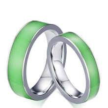 2pcs /pack ,316L Stainless steel luminous rings for lovers new fashion couple rings ,leave message for ring size request(China)