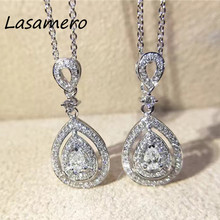 LASAMERO Halo 0.16CTW Round Cut Pear Shape Design Pave Set 18k White Gold Natural Diamond Pendant Necklace