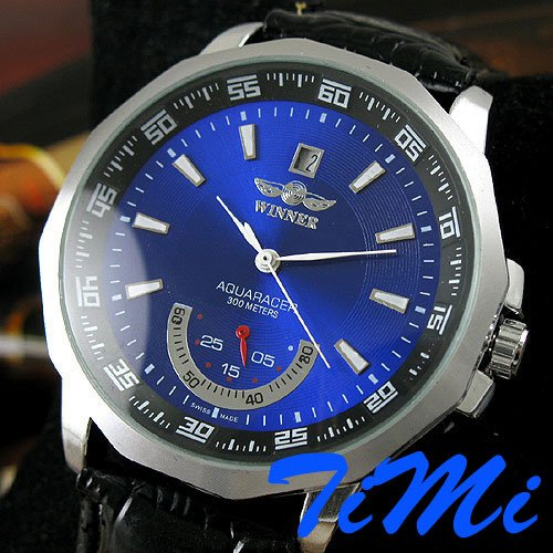 Fashion Blue Dial Date Mens Automatic Mechanical Watch<br><br>Aliexpress