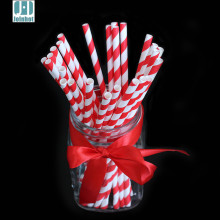 Pack of 25pcs Red Striped Paper Drinking Straws Creative Drinking Tubes Wedding Decorating Tools Party Supplies
