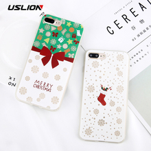 USLION Luminous Christmas Tree Phone Case For iPhone 8 8 Plus Cute Sock Print Soft Silicon Back Cover Cases For iPhone 7 7 Plus