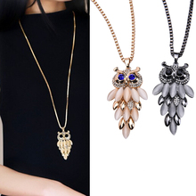 Vintage Rhinestone Opal Long Chain 1Pc Crystal Fashion Charms Owl Pendant Sweater Chain For Women Necklaces New Jewelry On Sale(China)