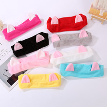 2pcs/lot Cat Ears Women Make-up wash Hairband Girls Animal Cartoon Headband Women Sports Yoga Sweat towel Thicken Warm Headwrap(China)