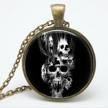 Ghost Rider burning skull Glass pendant necklace vintage bronze movie art Photo Glass Dome Gothic necklaces jewelry A-128 HZ1(China)