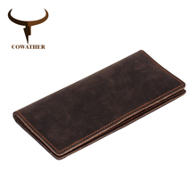 COWATHER 2017 new men wallets vintage cow crazy horse luxury leather good Manual male purse carteira masculina original brand