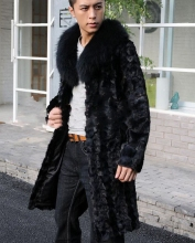 2016 Winter Men Faux Fox Fur Collar Long Faux Mink Fur Coats Male Black Fur Outerwear Casual Plus Size Fur Jacket XXXL W631(China)