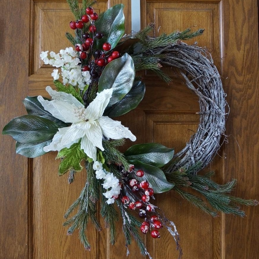 Winter Wreath, Christmas wreath, Christmas decoration, White Gold Red (1)