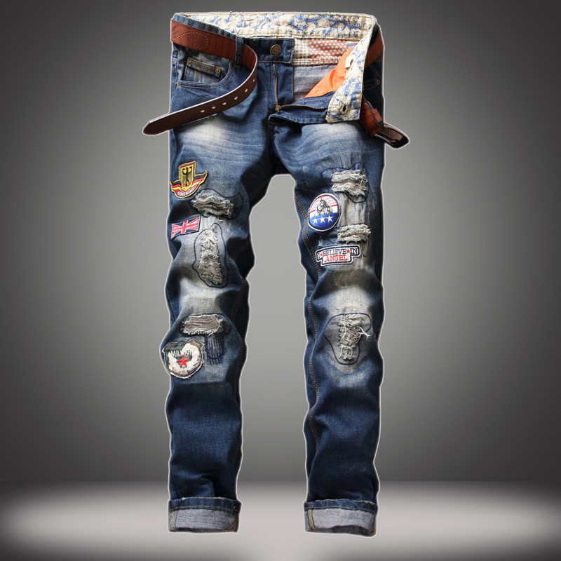 Mens Hole Patch Ripped Jeans For Men Patchwork Slim Badge Jeans Beggar Demin Pants Distressed JeansÎäåæäà è àêñåññóàðû<br><br>