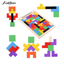 Fulljion Children Wooden Tangram Brain Teaser Tetris Puzzle Toys Learning Education Geometric Shape Jigsaw Game Puzzle kids Toy
