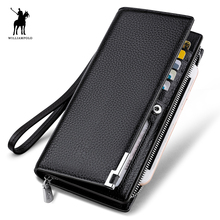 WILLIAMPOLO 2017 Fashion Long Design Genuine Cow Leather Wallet Man Metal Corner Phone Wallet Luxury Wallet Black #129(China)