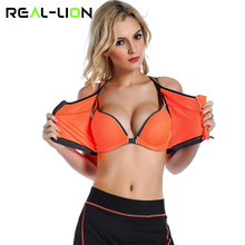 Buy RealLion Zipper Sports Bra Women Fitness Yoga Bra Push Padded Top Underwear Running Vest Gym Workout Running Tops Sportswear for $7.46 in AliExpress store