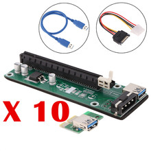 10pcs PCI-E Riser PCI E Express 1X to 16X Extender Card Board USB 3.0 SATA Adapter Cable 15Pin-6Pin Power for bitcoin mining