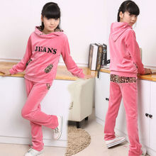 Juniors Velvet Sportswear Clothing Set 2017 Spring Autumn Teenage Girl's Leisure Sports Suit with Leopard-print for Age 5 - 16