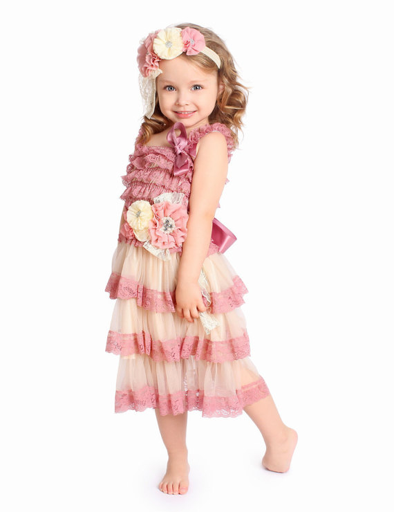 Dusty rose Vintage Inspired Flower Girl Lace Dress,Girl Lace Dress Set,Country Flower Girl,Birthday Girl Outfit,Mauve Lace dress<br><br>Aliexpress