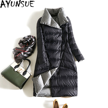 AYUNSUE New 2017 Two Side Wearable Ladies Coat Autumn Winter Women White Goose Down Jacket Stand Collar Long Parka Outwear ST584(China)