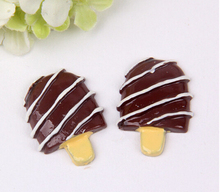 50pcs/lot 17*23mm Resin cute simulation chocolate striped ice cream kawaii cabochon for phone deco childrens hair accessories
